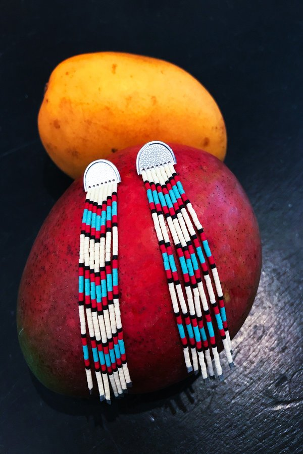Suga Earring No. 018 - Red/Turquoise