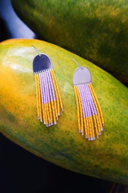 Suga Earring No. 028 - Mauve/Squash Yellow
