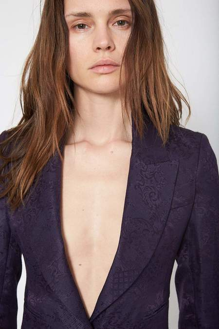 Isabel Benenato Jacquard Jacket - Deep Purple