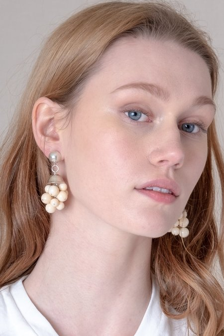 Another Feather CLUSTER EARRINGS - Off White