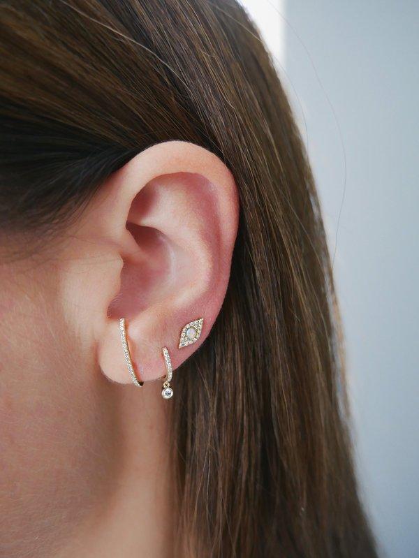 EF Collection DIAMOND JUMBO OPAL EVIL EYE STUD EARRINGS