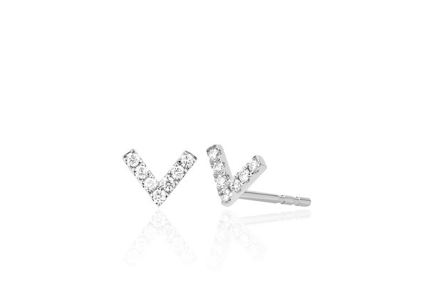 EF Collection MINI DIAMOND CHEVRON STUD EARRING - 14K WHITE GOLD