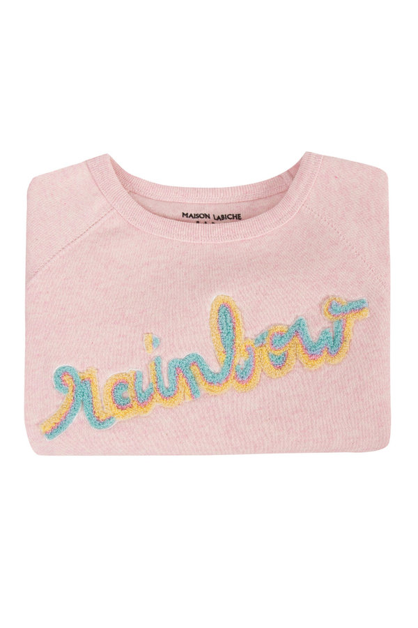 Kids Maison Labiche Patch Rainbow Sweatshirt - Pink
