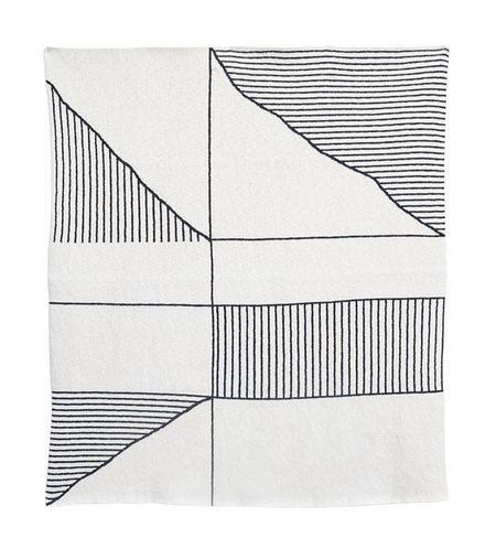 Bloomingville Geometric Striped Knit Throw - creamy white/black