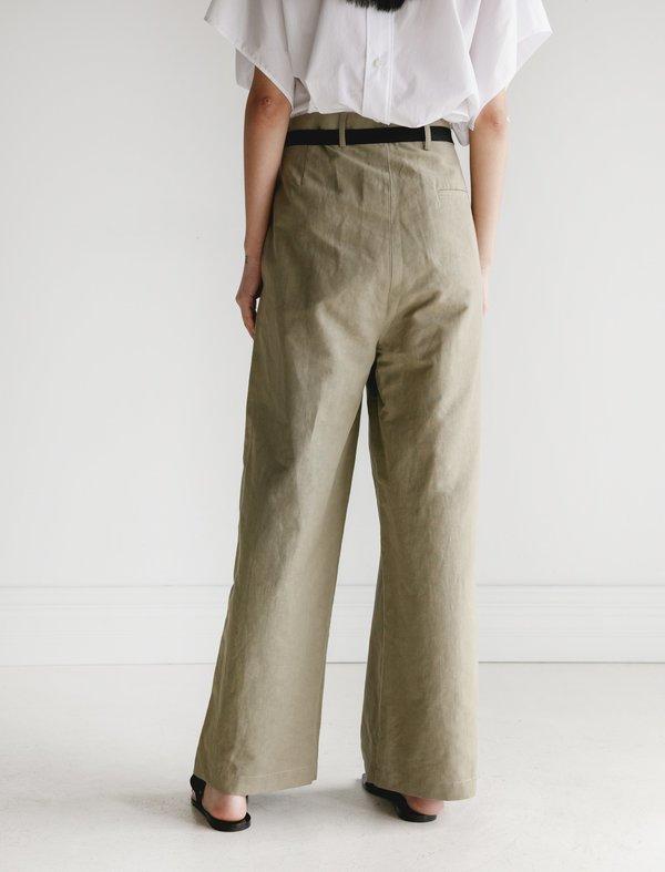 Hache Belted Trousers - Linen Khaki
