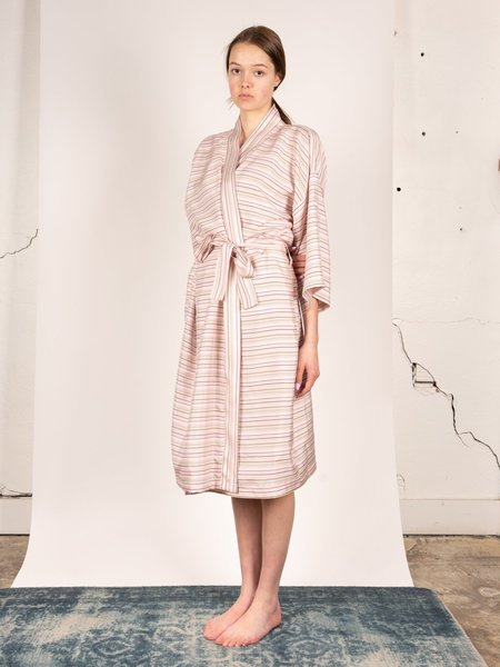 Kinda Sleepwear Silk Family Robe - Pink Multi Stripe
