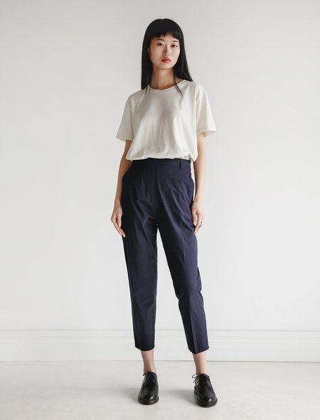 Hache Slim Poplin Trousers - Navy