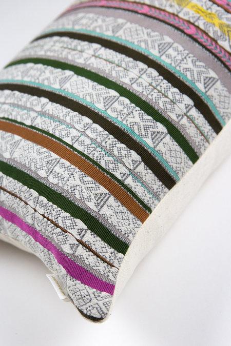 Archive New York Brocade Pillow - Grey Multi