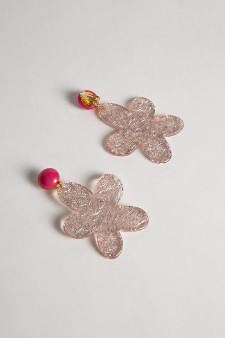Alexandrine Paris Daisy Glitter earrings - Rose/Pink Glitter