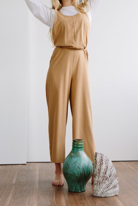 Baserange Otay Raw Silk Jumpsuit - SAND