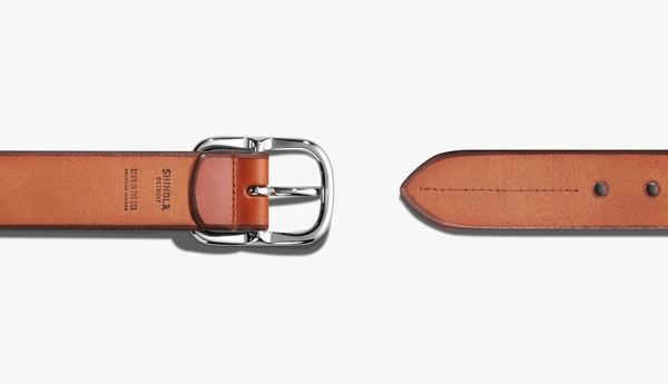 Shinola Center Bar Beveled Belt - Bourbon