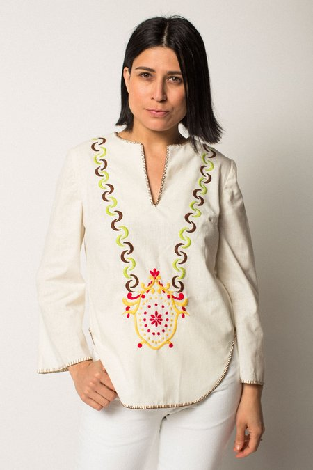 Preservation Vintage Embroidered Blouse - CREAM