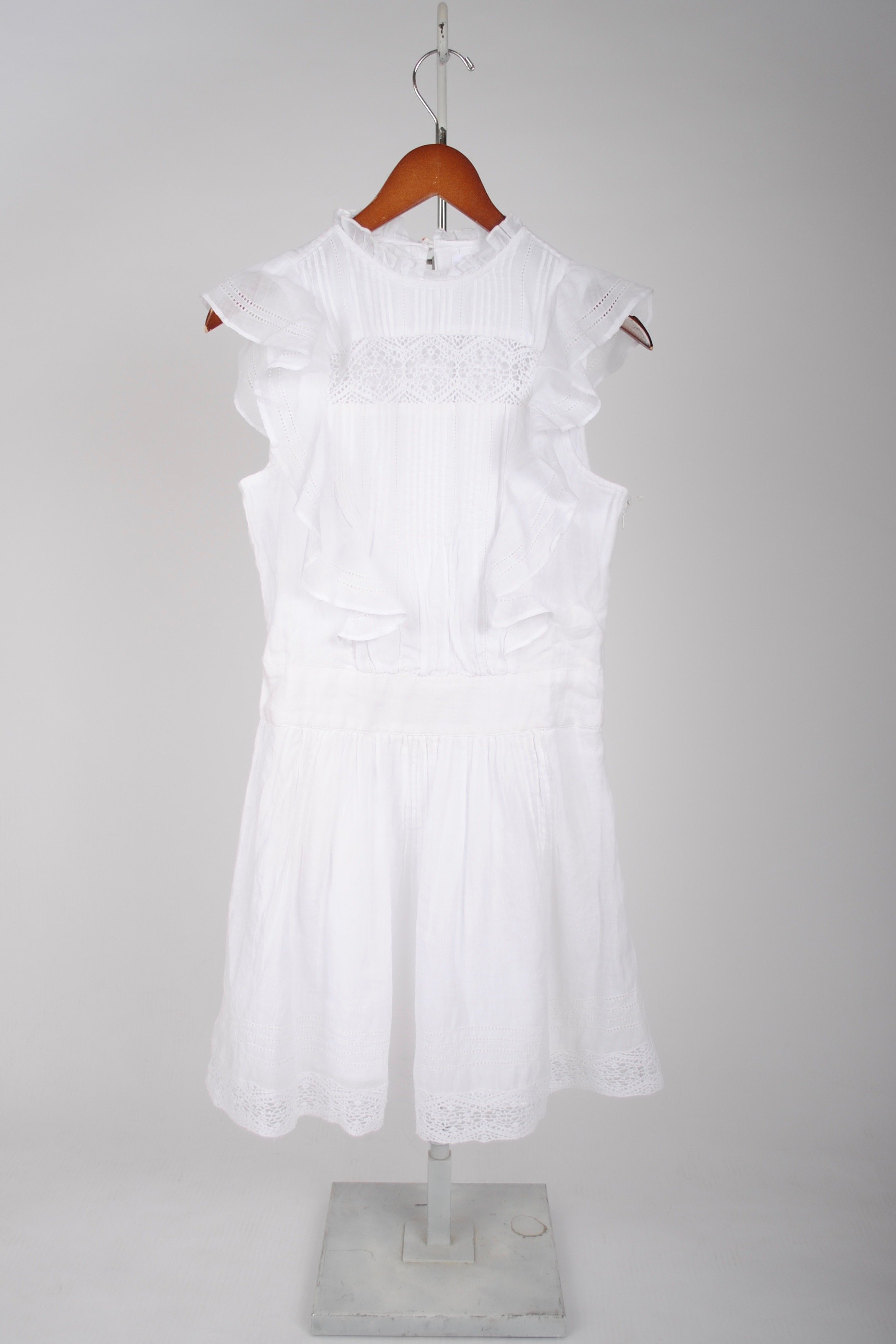 Frame Denim Lace Pintuck Dress White
