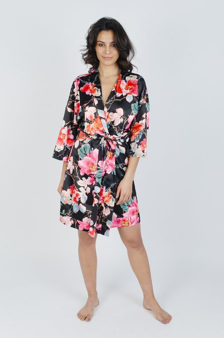 LoversLand Garden Floral Robe - Black