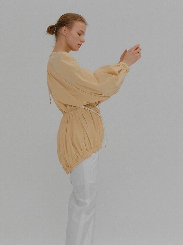 09d9c471980502 Eenk Muriel Waist String Long Sleeve Tunic Blouse - Beige | Garmentory