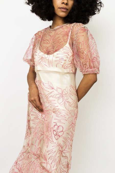 Suzanne Rae Puff Sleeve Dress - Magenta
