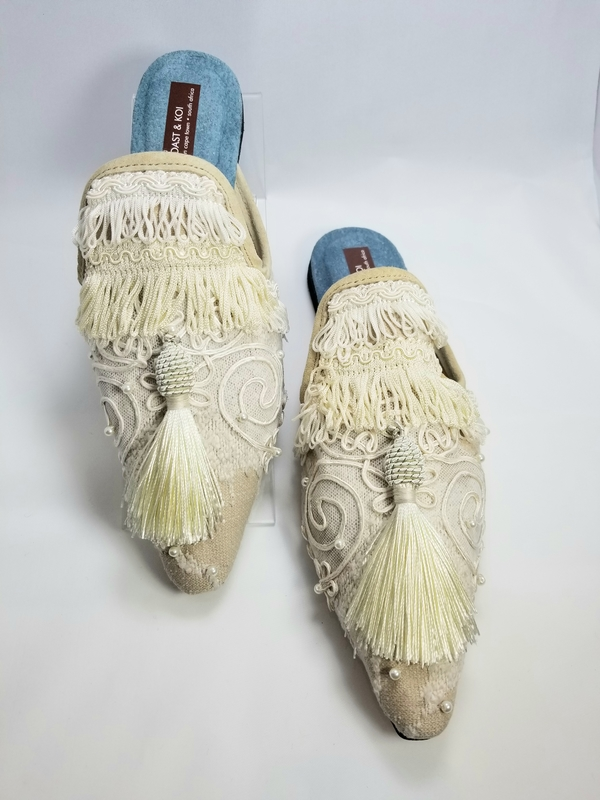 Coast & Koi Tapestry with Pearls and Silk Tassel Shoes - Ivory