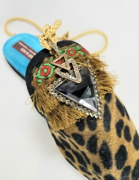 Coast & Koi Crystal Tie Back Shoes - Leopard