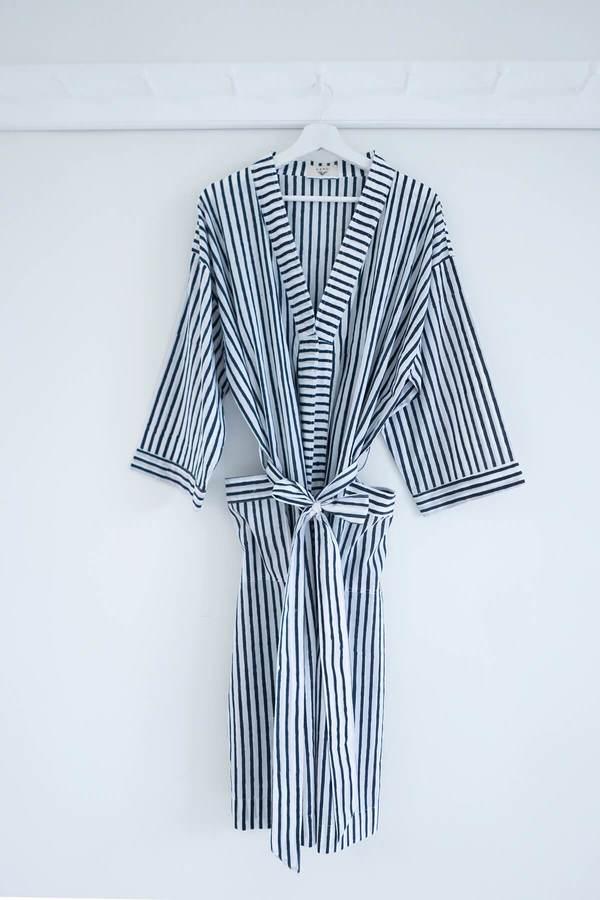 Karu Striped Robe - Midnight Blue