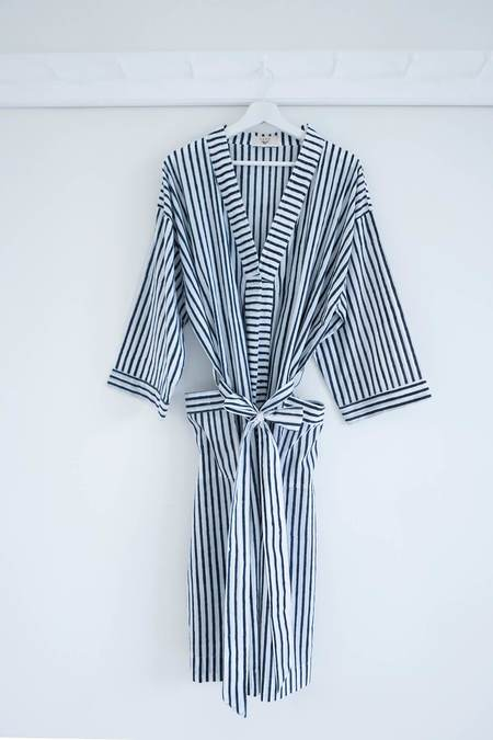 Karu Striped Robe - Midnight Blue