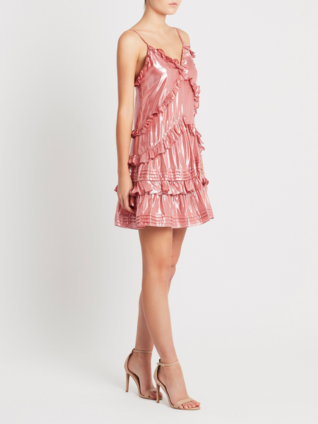 Rebecca Taylor Metallic Chiffon Ruffle Dress - Rose