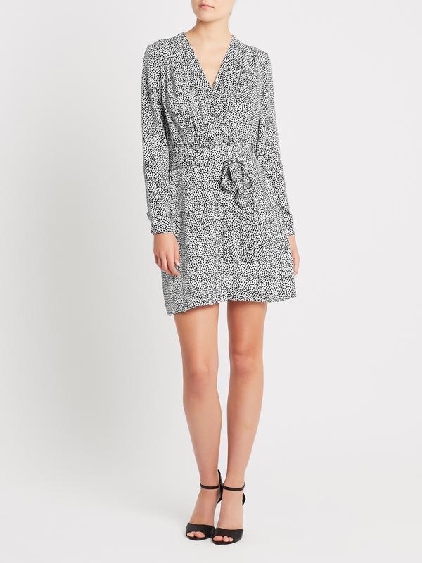 L'agence Diego Faux Wrap Dress - Ivory/Black