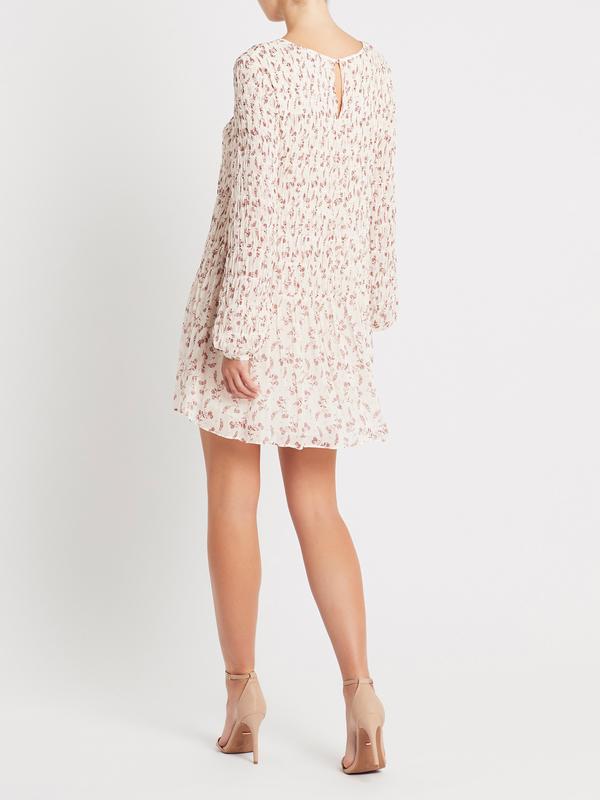 FRAME Denim Smocked Floral Dress - Off White