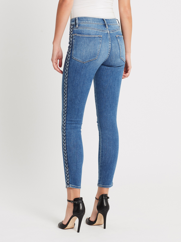 FRAME Denim Le High Skinny Braided Seam Jean - Mid Denim