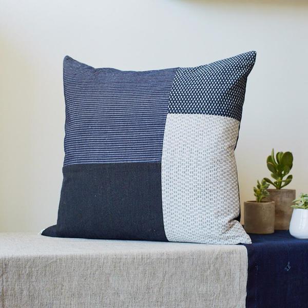 & Cie Indigo Patchwork Pillowcase
