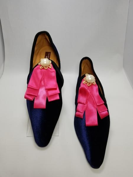 Coast & Koi Midnight Velvet & Pink Satin Shoes - Midnight Navy