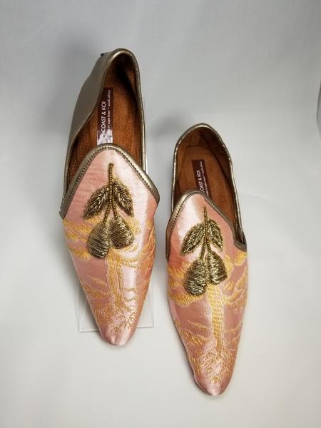 Coast & Koi Satin Brocade Shoes - Pink