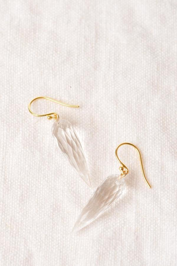 Percent Jewelry Long Faceted Rock Crystal Drop Earring