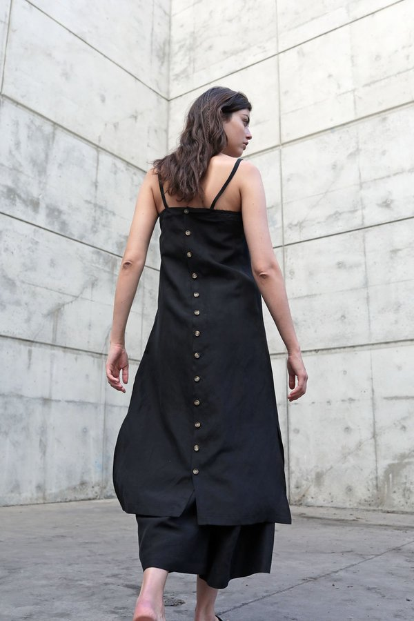 DEVORE POOLE SILK HALITE DRESS - BASALT