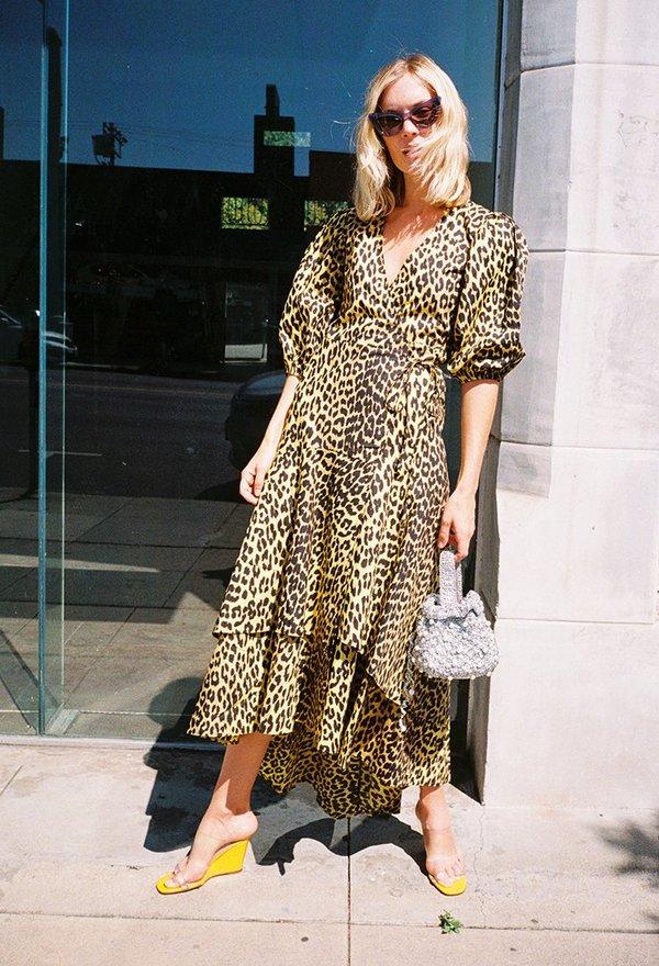 f4029f883d25 Ganni Bijou Dress - Yellow Leopard   Garmentory