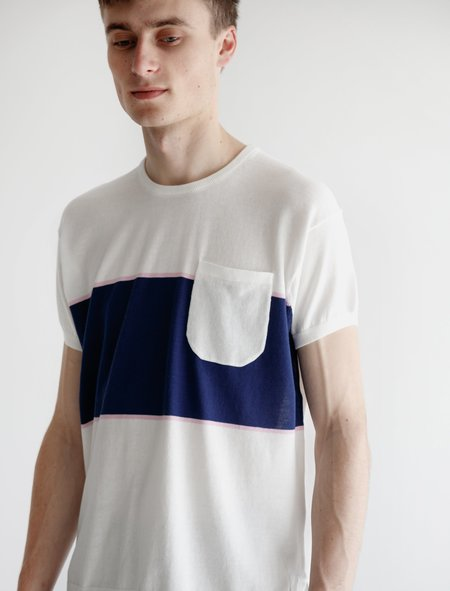 Meticulous Knitwear Hennessy Short Sleeve - White Block Stripe