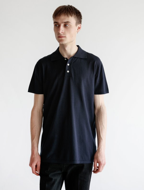 Meticulous Knitwear Short Sleeve Polo - Navy