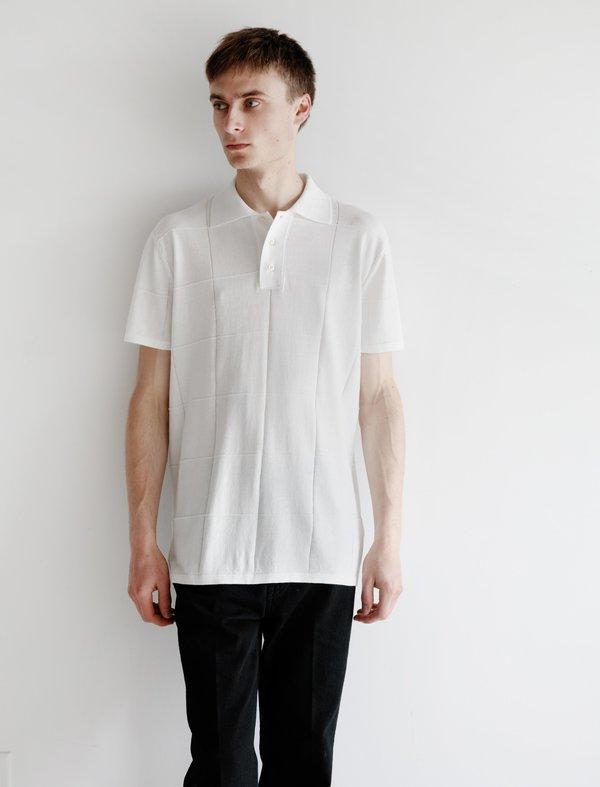 Meticulous Knitwear Window Pane Pattern Stitch Polo - white