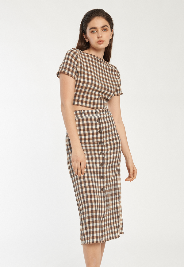 Rita Row Kas Skirt - Brown Gingham