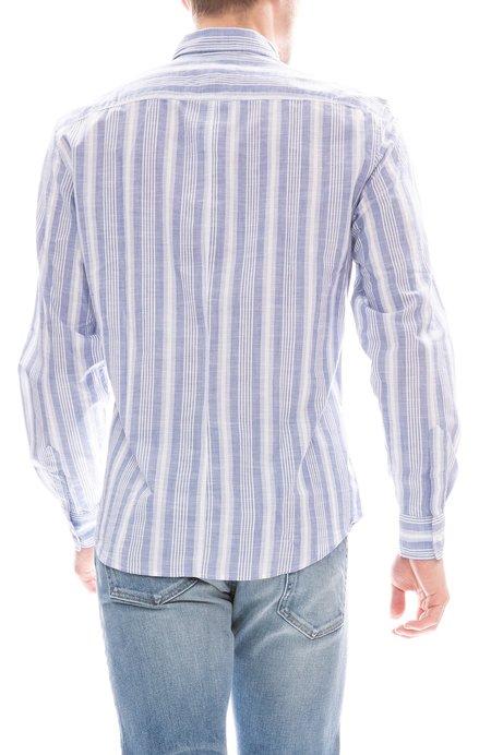 Frank & Eileen Don Wide Chambray Shirt - Blue Stripe