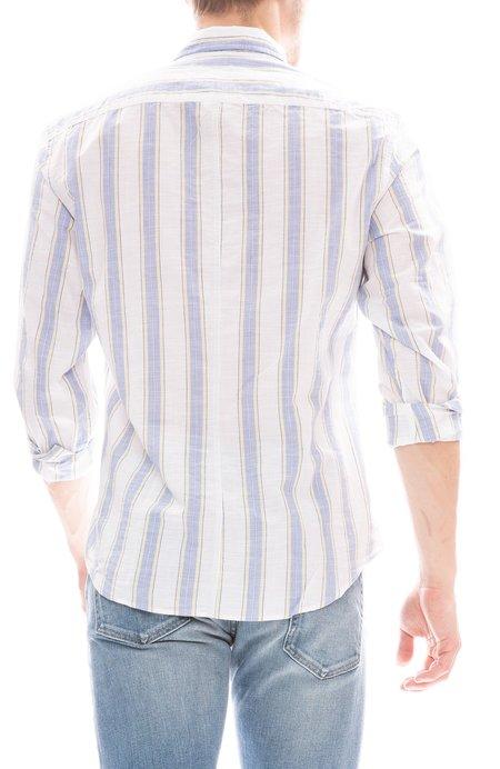 Frank & Eileen Don Wide Stripe Chambray Shirt - Yellow/Blue