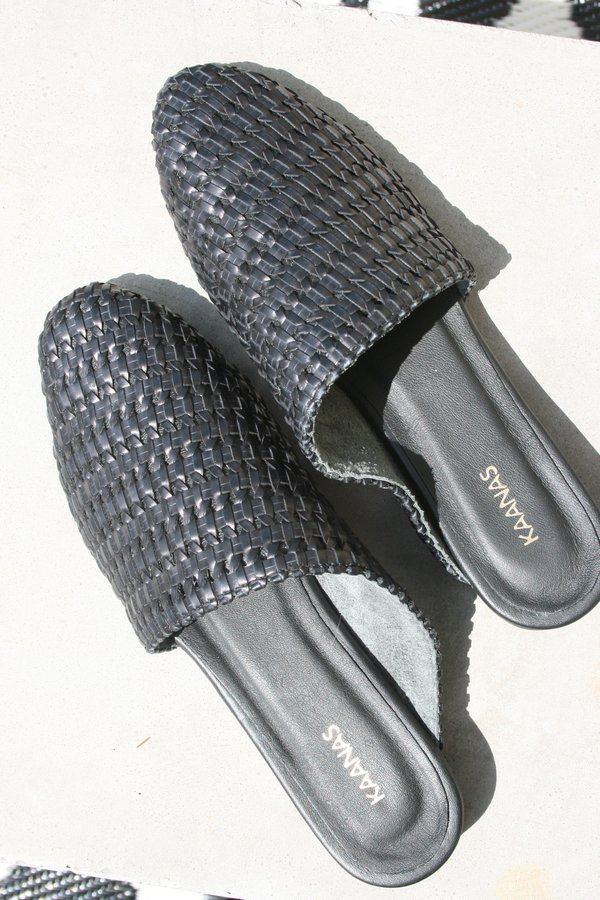 KAANAS Alicante Basketweave Asymmetrical Flat Slip On Mule - Black