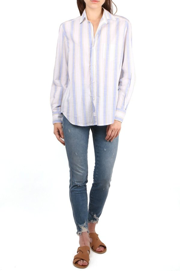 Frank & Eileen Eileen Long Sleeve Button Down Shirt - Blue/Yellow/White