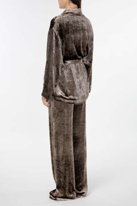 ALENA AKHMADULLINA Viscose Jacket + Trousers - Brown