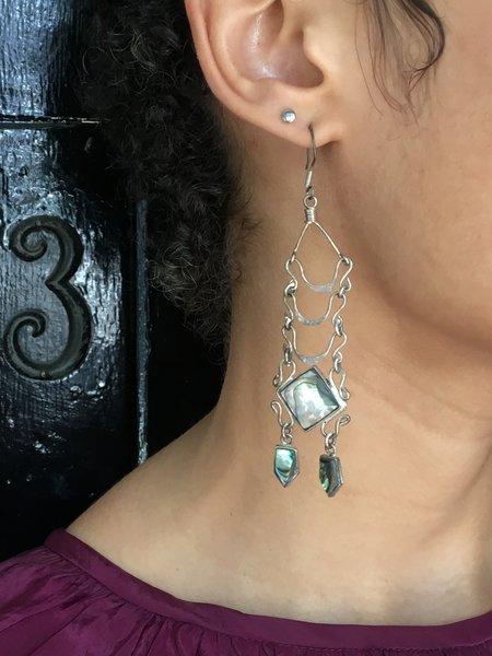 Vintage KC Abalone Dangle Earrings - Silver