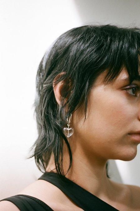 Alexa De La Cruz Heart Drop Hoop Earrings - Transparent