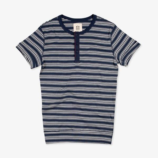 Hemen Biarritz Luzien S/S Henley - Stripe Bleu Mayol