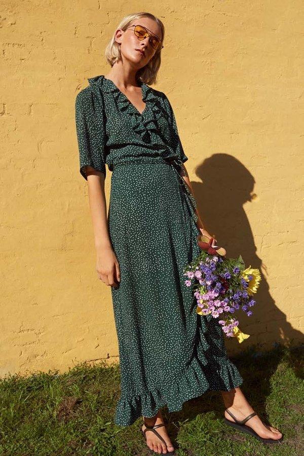833727efa056 Just Female Image Maxi Wrap Dress - Green Dot   Garmentory