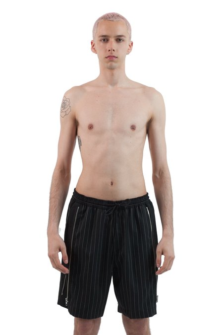 Juun.J Pinstripe Zipper Shorts - black