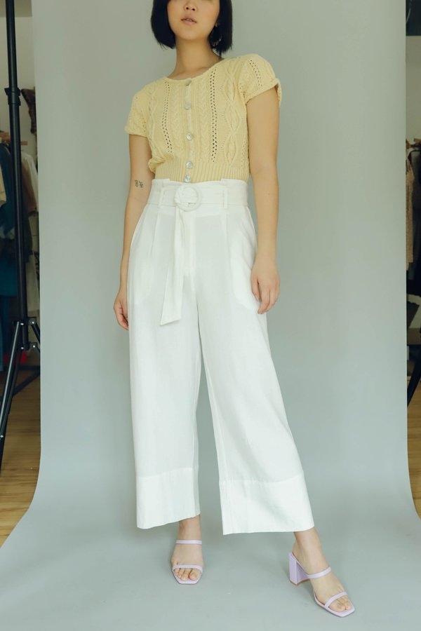 Moon River Paper Bag Belted Pants - White