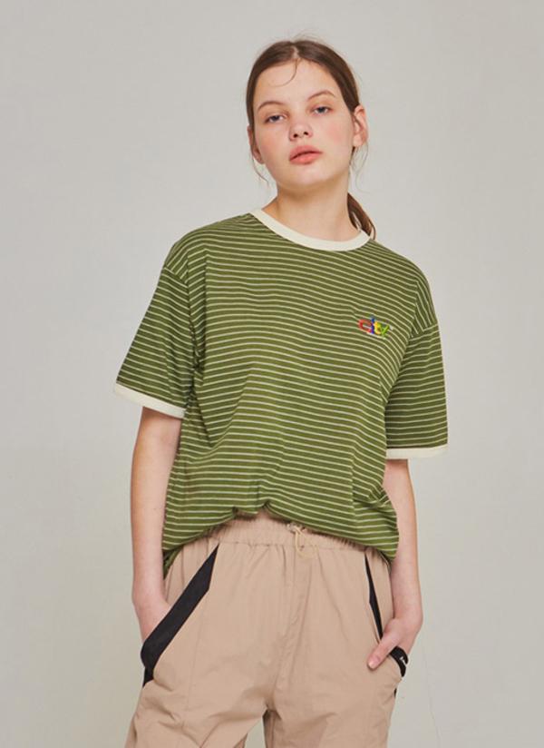 Another A City Logo Stripe T-shirt - Khaki